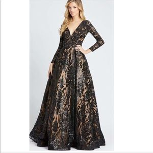 MacDuggal Long Sleeve Formal Dress Sequin Gown